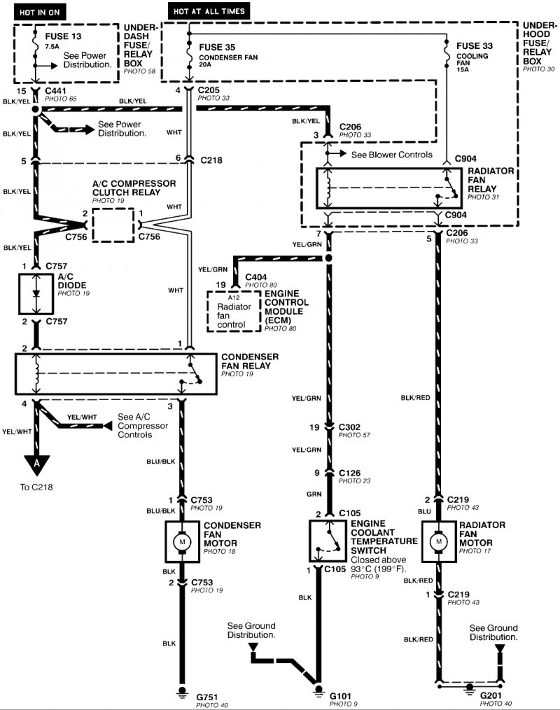 1994 civic ex vtec radiator fan relay pin detail