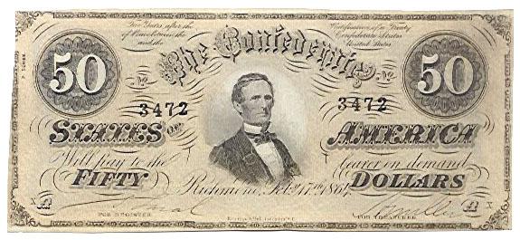 1864 50 dollar bill