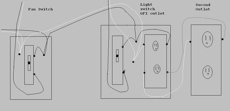 simple electrical wiring for bathroom  2 switches 2 gfi u0026 39 s