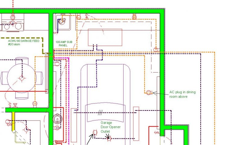 Wiring Diagram For Attached Garage : Attached garage sub panel wire type and size