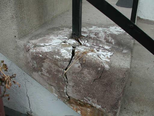 Cement Steps Cracked By Metal Railing Best Way To Repair