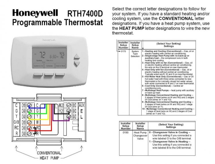Wiring Diagram For Heat Pump Thermostat : Honeywell rth d wiring diagram old furnace