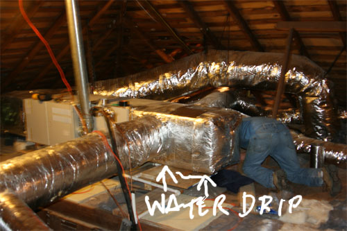 New A C Water Leaking From Unit In Attic Not From Pipes