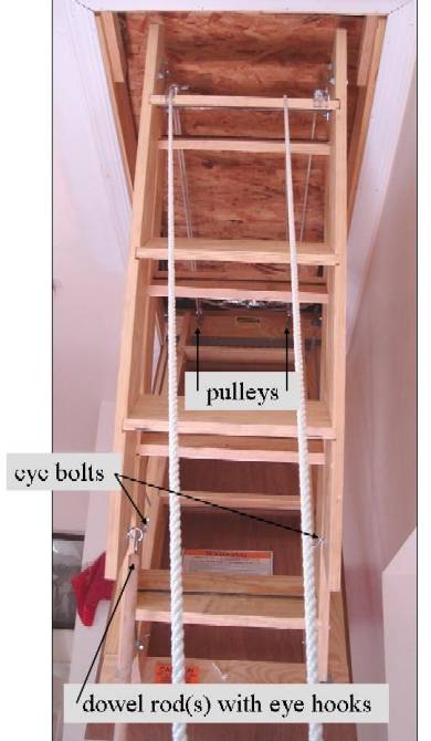 Pull Down Fold Up Attic Steps Safely Opening And Closing