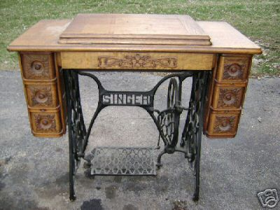 why antiques: Antique Chelsea Treadle Sewing Machinecabinet