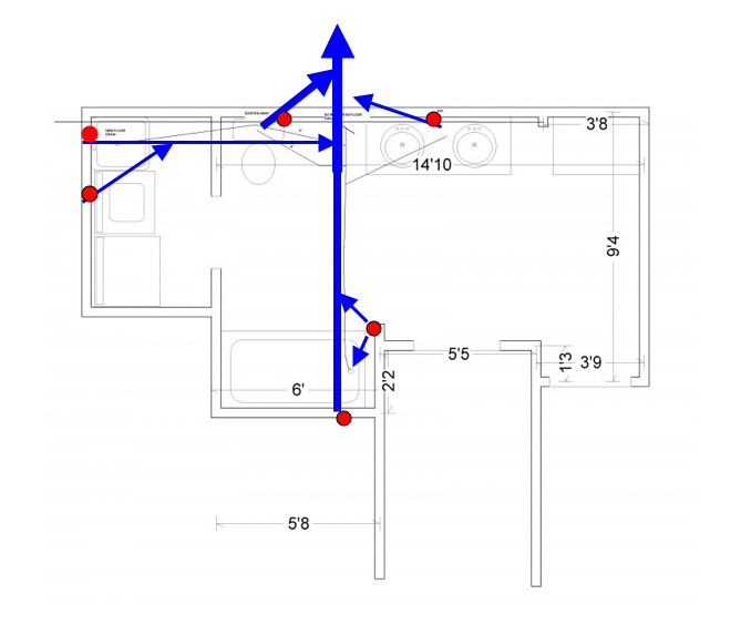 Basement bathroom layout for Bathroom sewer pipe layout