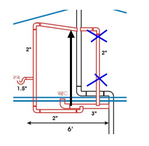 Install second floor bathroom drain and vent