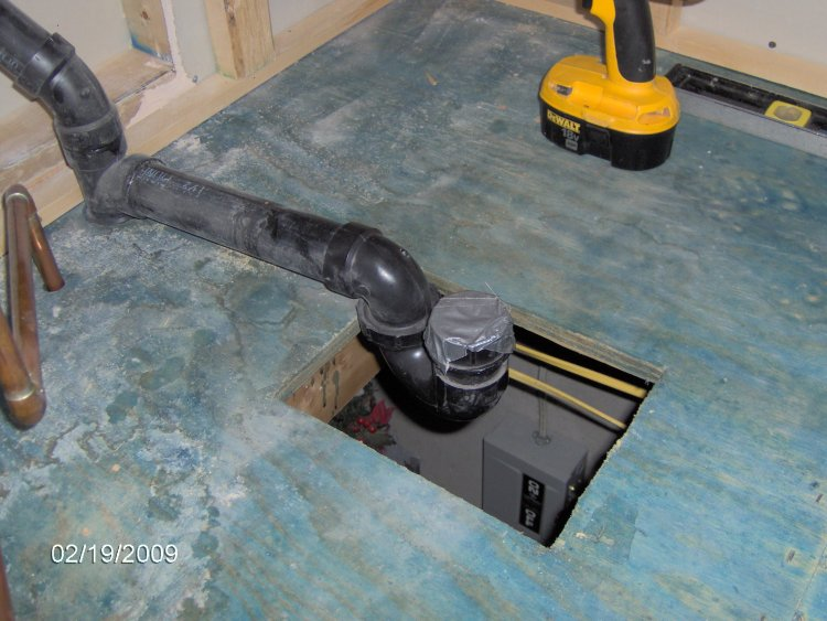 Bathtub vent and trap locations