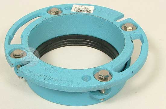 Quot twist and set plastic flange for cast iron pipe