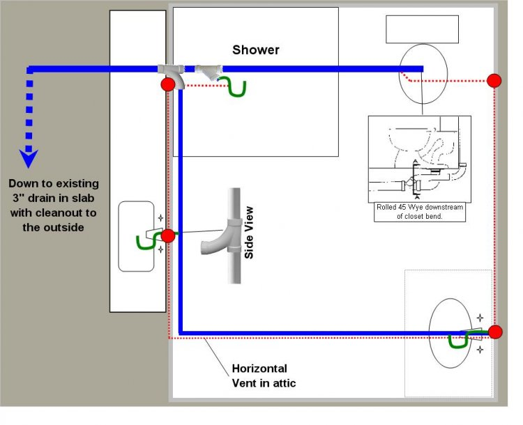 Plumbing trap diagram plumbing trap seal elsavadorla for Bathroom sewer pipe layout