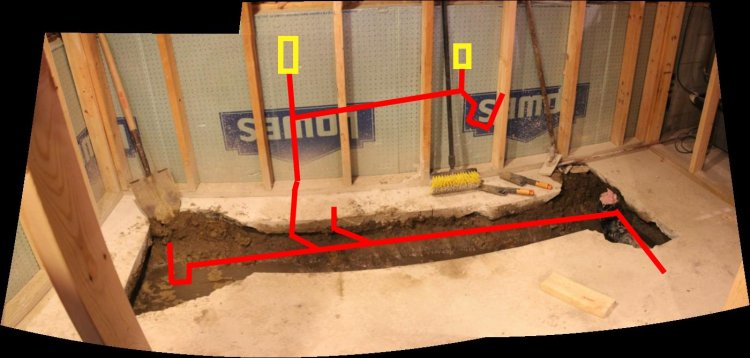 Basement bathroom plumbing venting help needed for Rough plumbing toilet