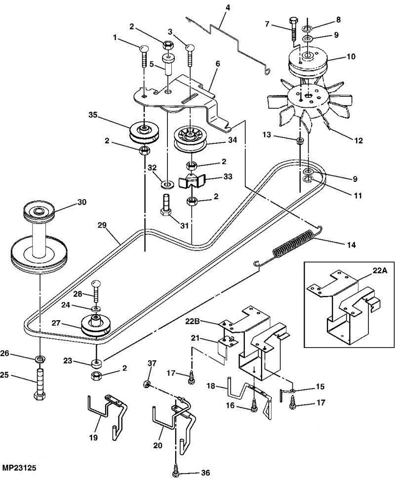 John Deere X125 Garden Tractor Spare Parts furthermore John Deere LA145 Belt Diagram also Wiring Schematic For John Deere 445 in addition 53cxo Details Installing Transmission Engine Drive Belt also OMM145864 I111. on john deere lt155 belt adjustment