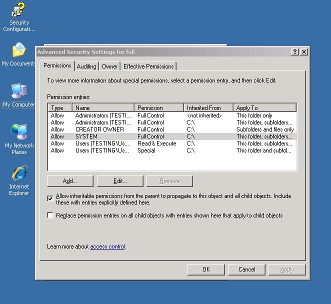 Advanced Security Settings In 2003 Server
